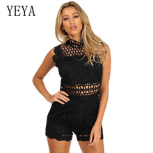 цена на YEYA Sexy Hollow Out Crochet Embroidered Shorts Jumpsuits Elegant Sleeveless See Through Casual Rompers Elegant Party Playsuits