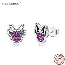 Silverhoo 925 prata esterlina brincos bonitos para as meninas femininas vermelho zircônia cúbica cintilante minnie brinco jóias presentes