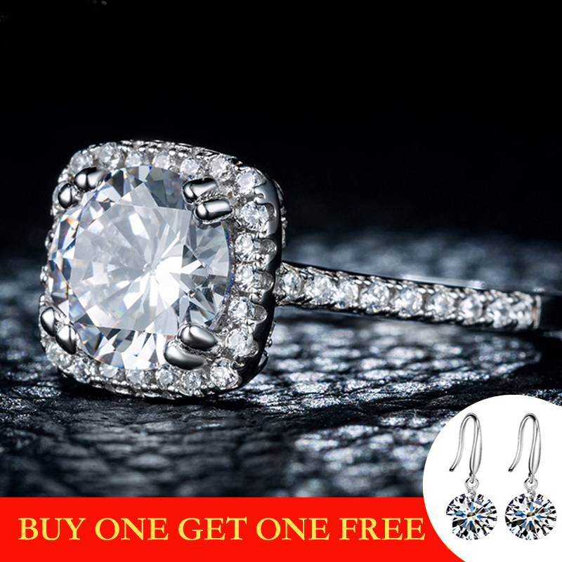 SONA Diamond NOT FAKE S925 Sterling Silver Ring VS Clarity 2 Carat Luxury Exquisite Ring Wedding Engagement I Love Mom 925