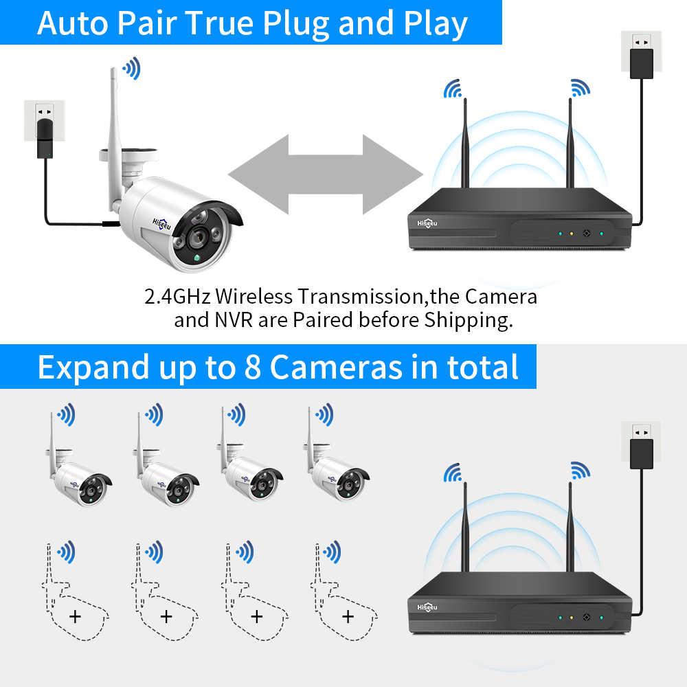 Hiseeu 8CH bezprzewodowy System CCTV 1536P 1080P NVR wifi IR-CUT na świeżym powietrzu 3MP AI CCTV IP kamery systemu bezpieczeństwa wideo zestaw do nadzorowania