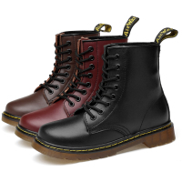 Everythsoul Women Boots Genuine Leather Ankle Martens Boots for Women Casual Dr. Motorcycle Shoes Warm Fur Winter Couple Shoes