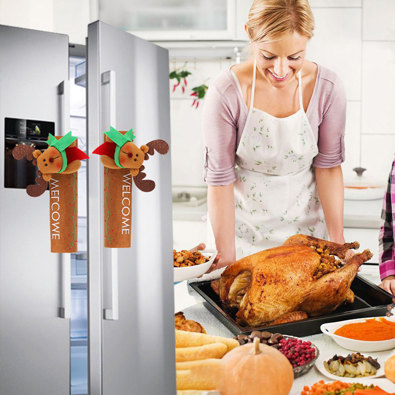 1Pcs Kitchen Refrigerator Door Handle Knob Cloth Covers Christmas Decoration