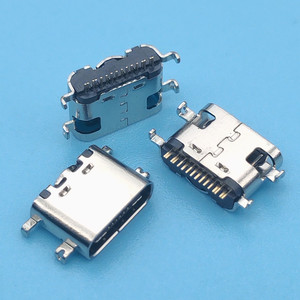 50Pcs/Lot Micro Usb Jack 3.1 Type-C 16Pin Sink 0.8Mm Smd 90-Degree Female Connector For Mobile Phone Charging Port Socket