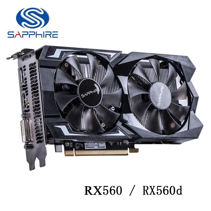 SAPPHIRE RX560 4 ГБ GDDR5 видеокарта для AMD RX 500 видеокарт rx560 d VGA RX 560 4G RX560D DP HDMI DVI 7000 МГц 896 1024 б/у
