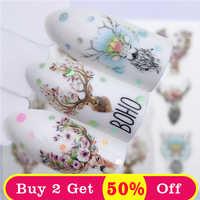 ZKO fleur cerf/fleur/vieux mode collier Styles Nail Art transfert d'eau autocollants colorés pleins conseils conçus