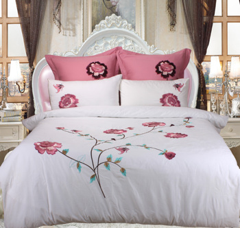 Free Shipping 3pcs Simple Australian Pastoral Style Embroidery Peony Pure Cotton Bedding Set Duvet Cover Sheet Pillowcases