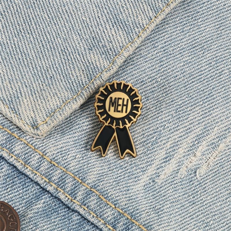 Classic Black Round Wreath Brooches Creative MEH Enamel Pin Denim Jackets Shirt Metal Lapel Pins Vintage Badge Girl Jewelry Gift