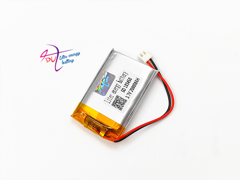 JST PH 2.54mm 2pin connector 103450 <font><b>3.7V</b></font> <font><b>2000mAh</b></font> Lithium Polymer <font><b>LiPo</b></font> Rechargeable <font><b>Battery</b></font> with For MP3 DVD camera GPS laptop image