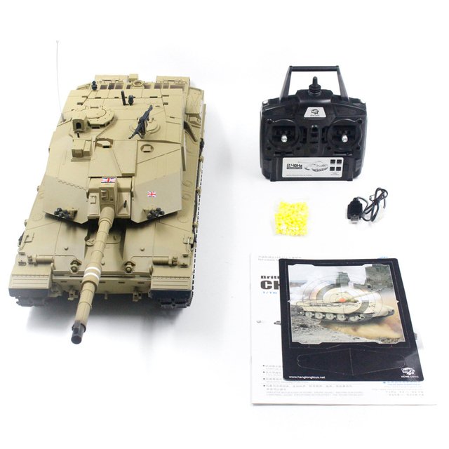 Hot 1:16 British Challenger Ⅱ Main Battle Tank 2.4G Remote Control Model Military Tank With Sound Smoke Shooting Effect - Basic