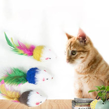 5Pcs/lot Colorful Soft Fleece False Mouse Toys For Cat Feather Funny Playing Pet dog