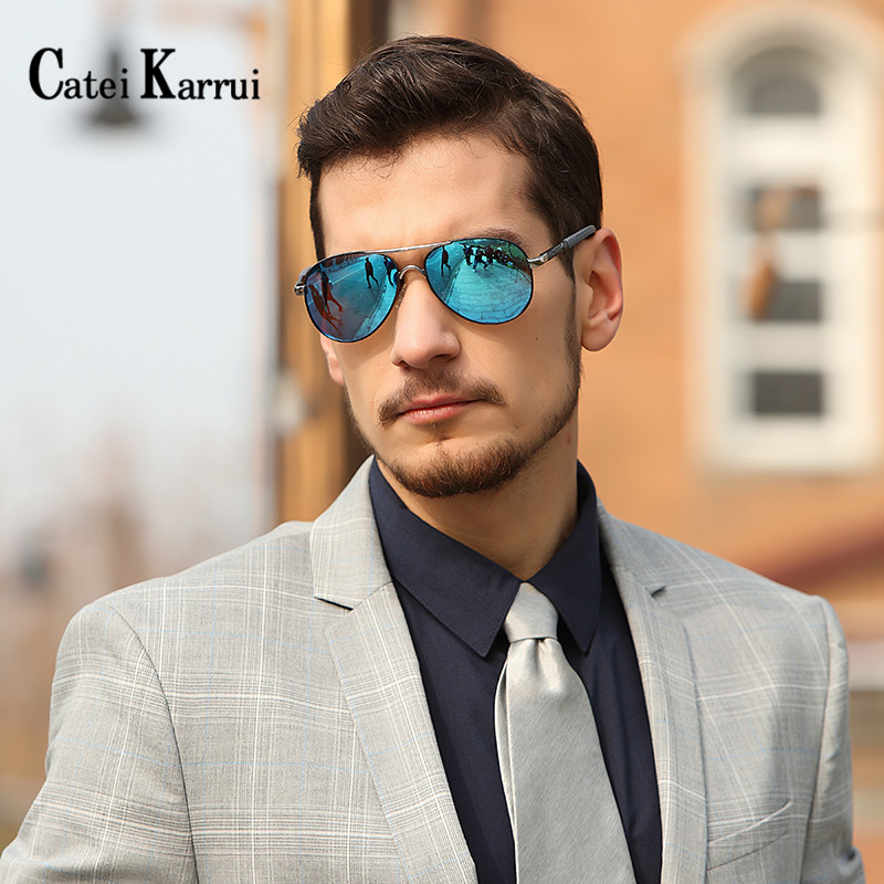 Catei Karrui Polarized Men Sunglasses Designer Retro Square Sun Unisex Driving Aluminum UV400 Fishing Glasses Accessories Women