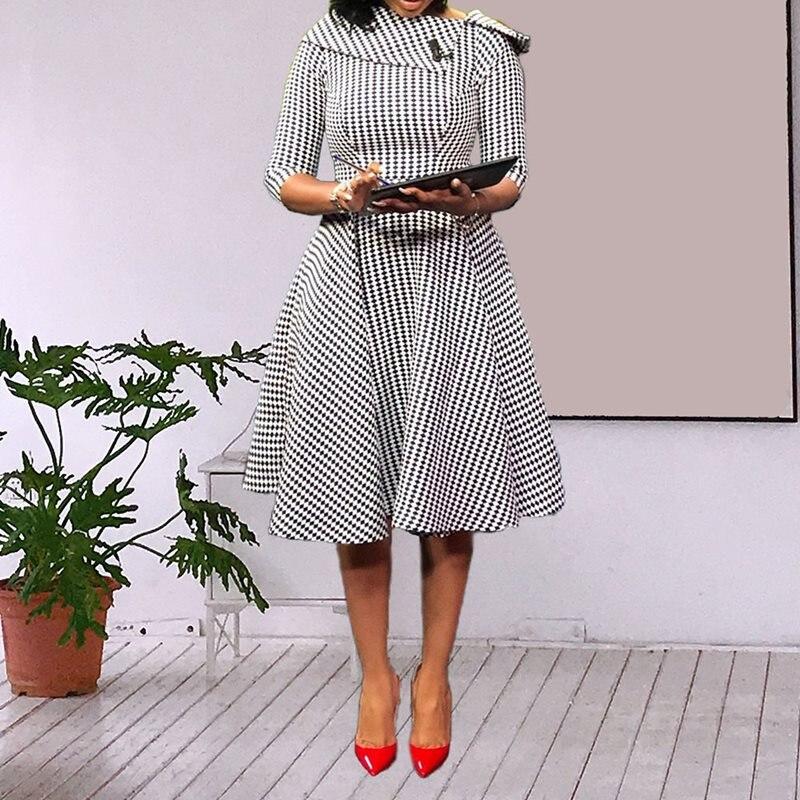 African Fashion Vintage Print Retro Dress
