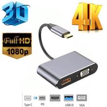 Audio-Video-Converter Type-C Adapter Vga Hdmi-Compatible Macbook USB3.0 Usb-C 4K