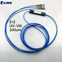 SMA905 2*2 fiber optic splitter 100um 1m 2m UV VIS 100um big core fiber MM optical fiber coupler free shipping