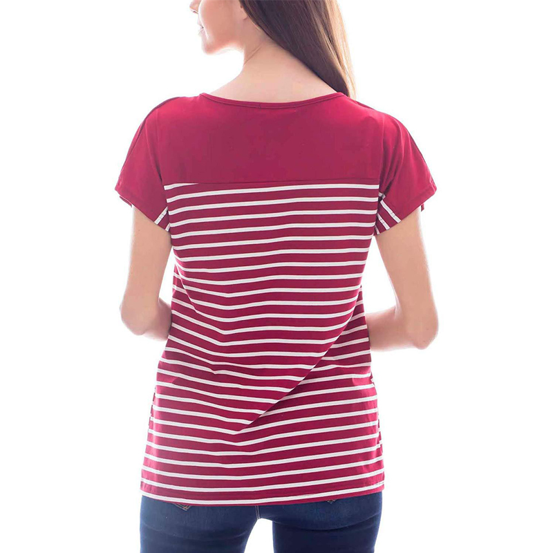 Striped Maternity Women Tops Tees Pregnancy T Shirt 2019 Summer Short Sleeve O Neck Nursing For Pregnant Women Clothes S XL D30 in Tees from Mother Kids