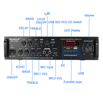 Усилитель мощности SUNBUCK TAV-6188E, Bluetooth, 5 каналов, AUX, USB, FM, SD 2