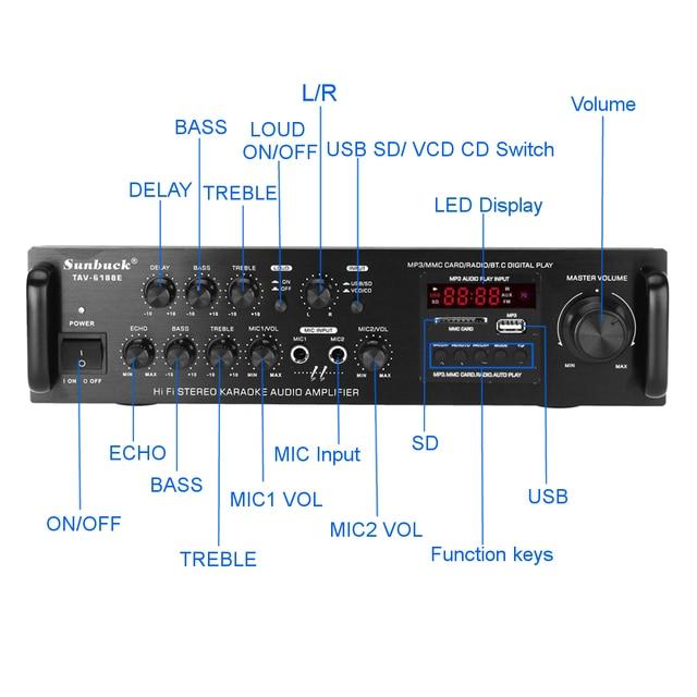Усилитель мощности SUNBUCK TAV-6188E, Bluetooth, 5 каналов, AUX, USB, FM, SD