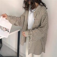 Camisa Retro con cuadros para mujer, ropa para estudiantes, primavera y otoño, holgada, versión coreana, protección solar, 2021