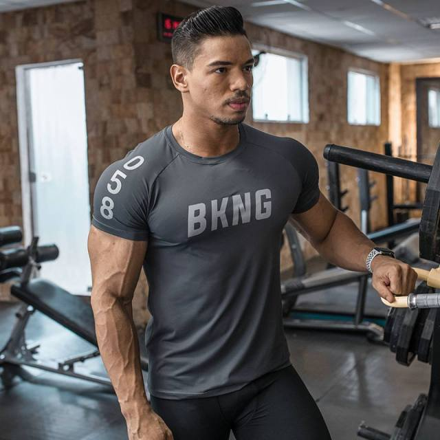 New Mens Gyms Fitness Bodybuilding Sporting T-shirt Muscle Man Casual Printed T shirts Male Workout Breathable elastic Tees Tops