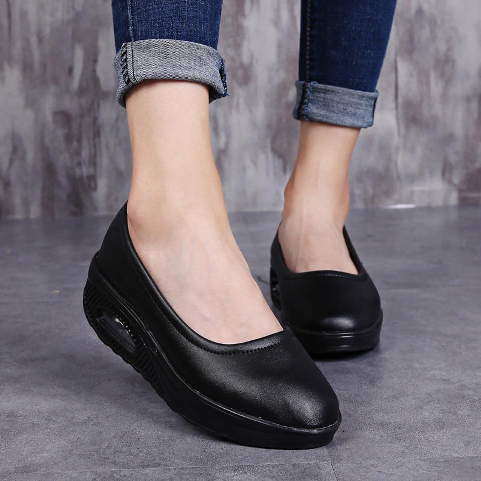 conforto mocassins deslizamento-na plataforma sapatilhas de ballet senhoras sapatos casuais