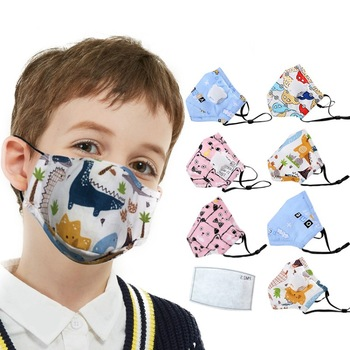 Cotton PM2.5 Children Masks Respiratory Valve Cartoon Face Mask for Girls Boys Anti Dust Mask Fits 2-10 Years Old Kids
