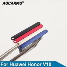 Aocarmo Black/Red/Blue/Gold SD MicroSD Holder Nano Sim Card Tray Slot For Huawei Honor V10 BKL-AL20
