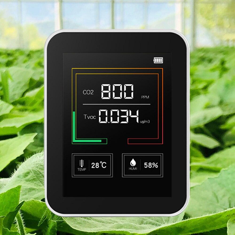 Usb recarregável co2 medidor de qualidade do ar monitor sensor de dióxido carbono tvoc detector concentração temperatura umidade testes