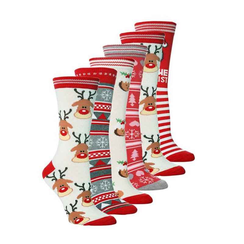2019 Autumn Winter Women New Year Santa Claus Christmas Snow Elk Gift Cute Cartoon Thickness socks Long Cotton Socks