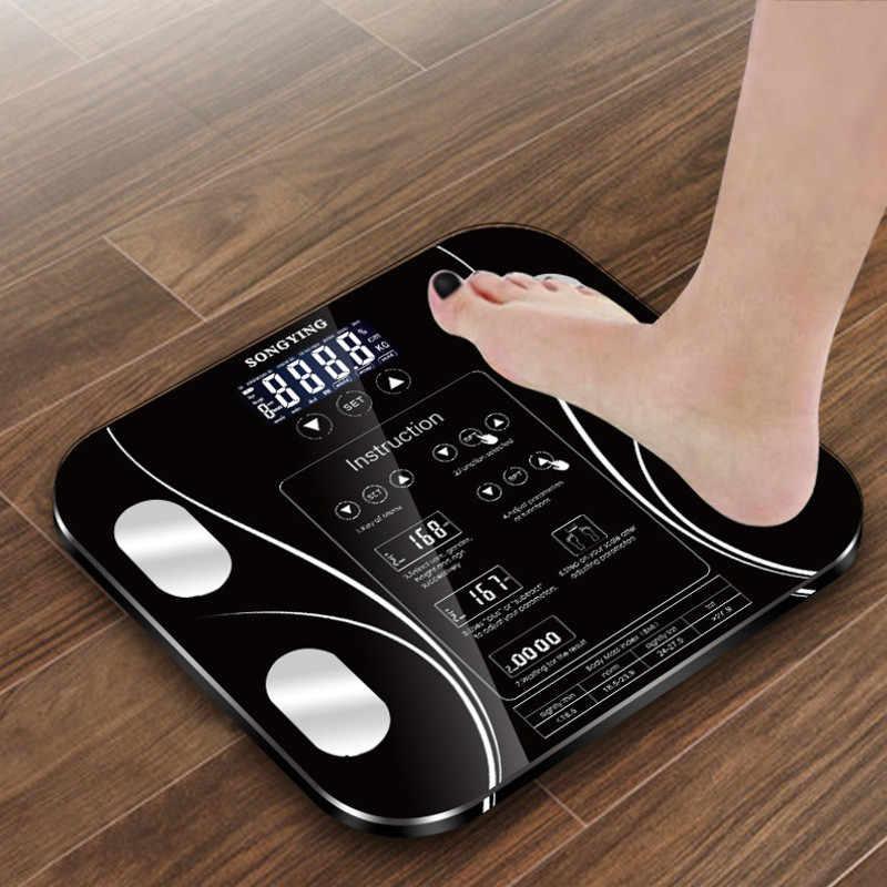 Gorący łazienka tkanki tłuszczowej b mi skala cyfrowy człowieka waga mi wagi podłogowe wyświetlacz lcd indeks ciała elektronicznych inteligentna waga wagi