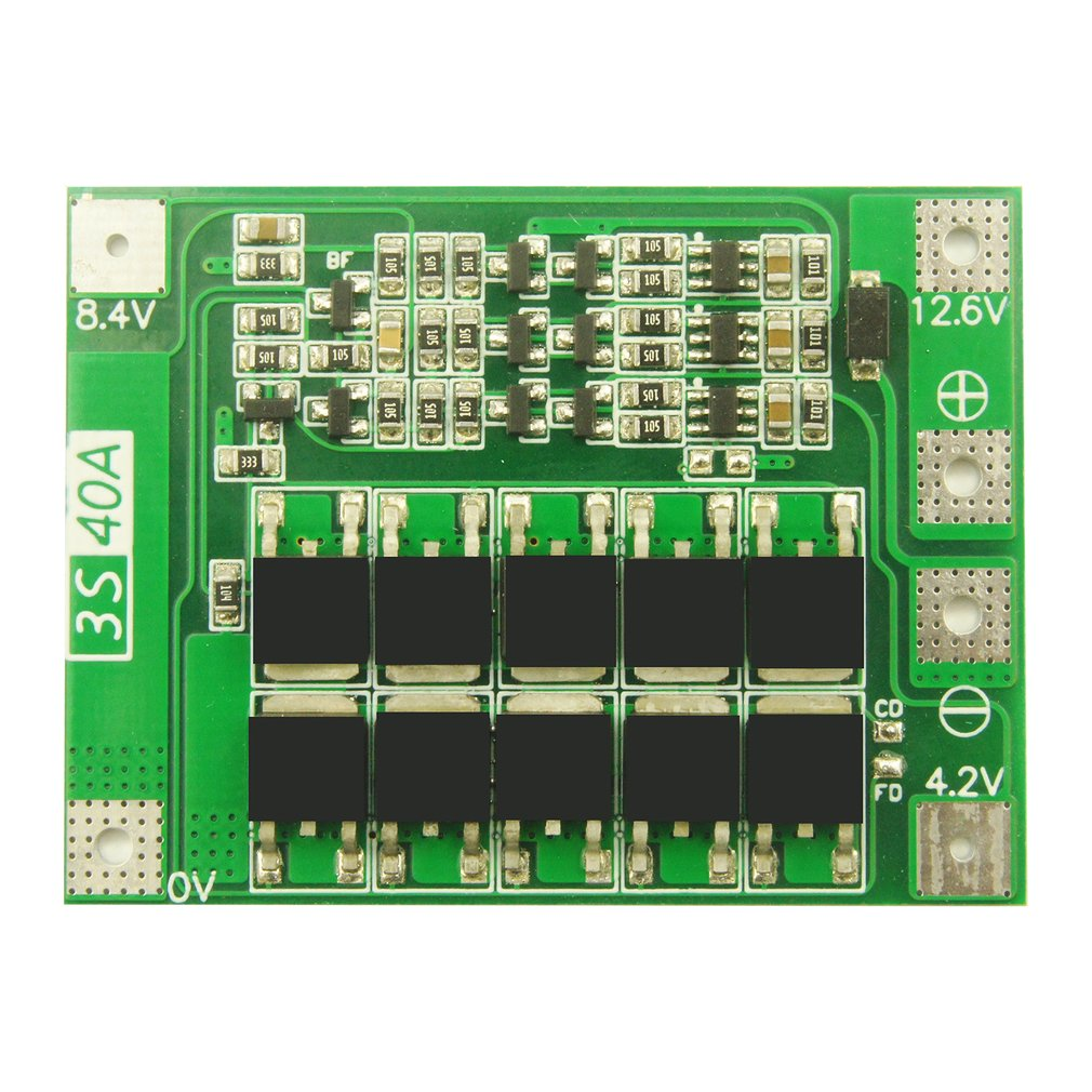 3 Series 40A Li-ion Lithium Battery 18650 Charger PCB BMS Protection Board With Balance For Drill Motor Lipo Cell Module