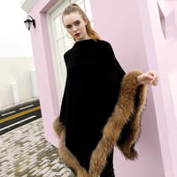 Hot Sale Genuine Wool Cashmere Shawl Poncho Winter Plus Size Knitted Pullover Sweater With Real Raccoon Fur Trim For Women