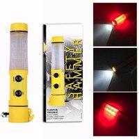 4 in 1 Multi-funktion Hammer Seatbelt Cutter Auto Warnung Lampe Taschenlampe Glas Brechen Leuchtfeuer Auto rescure Flucht Werkzeuge notfall
