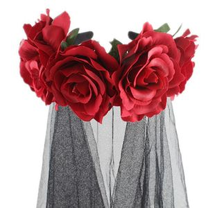 Image 5 - Halloween Wreath Headband Handmade Fabric Rose Flower with Black Mesh Veil Tulle Crown Festival Day of The Dead Hair Hoop