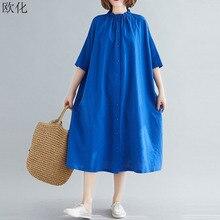 Women Shirts Dress Vintage Loose Cotton Linen Long Beach Dress Plus Size Summer Sundress Stand Colla