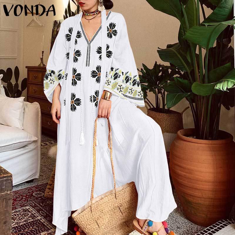 Сексуальное длинное платье с v-образным вырезом VONDA, женское платье, осенние платья с длинным рукавом, винтажные макси платья размера плюс ве...