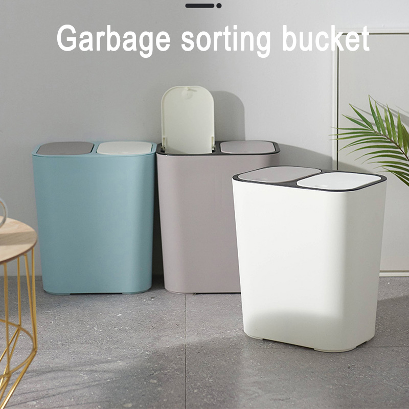 2019 Hot Sale Trash Can Rectangle Plastic Push-Button Dual Compartment 12liter Recycling Waste Bin Garbage Can I88 #1 title=