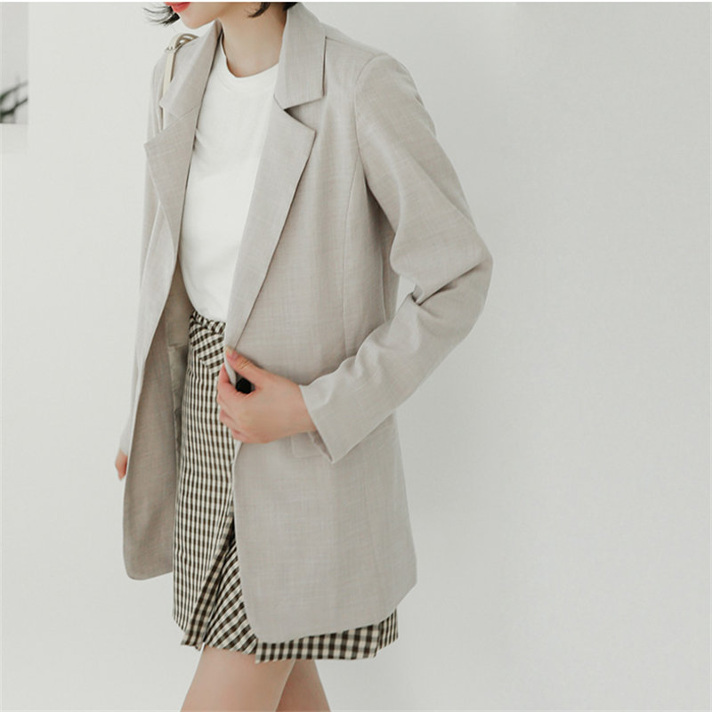 HziriP Korea Chic Solid 2020 Pockets Office Lady Fashion Blazers Women 2020 Loose All Match Casual Simple Full Sleeves Blazers
