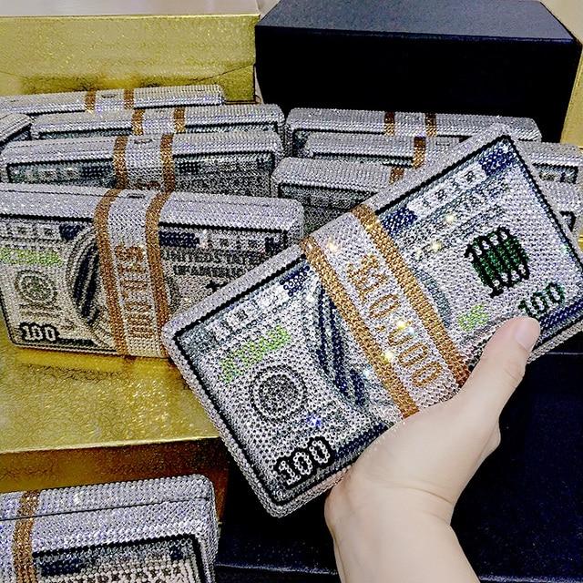 Transporte rápido por atacado luxo saco famoso luxos bolsas feminino festa à noite cristal pilha de dinheiro rico garras bill bolsas