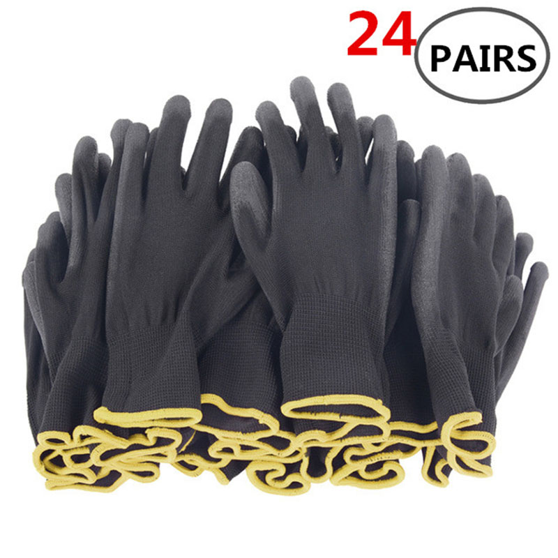 12 pairs of 24 pairs of nylon PU safety work gloves repair special gloves palm coated gloves carpenter repair workers supplies