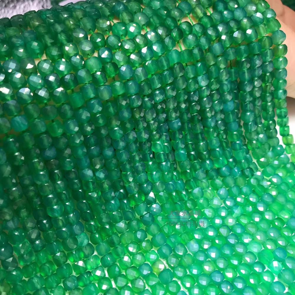 Green Agate Square Faceted  4mm For DIY Jewelry Making  Loose Beads  FPPJ Wholesale Beads Nature Gemstone Peace Buckle