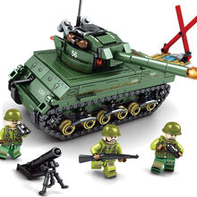 Sherman M4 Tank Assembly Building Block Toys Intelligent Legoings M4 Tank Building Block Toy Christmas Gifts 101304 for Children(China)
