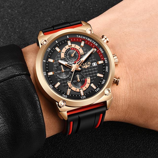 LIGE Watch Top Brand Mens Watches With Chronograph Sports Waterproof Clock Man Watches Military Luxury Watch Men Analog Quartz