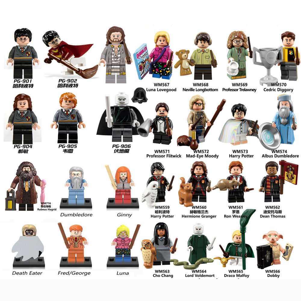 Magic series Figures Hermione Ron Dobby Snape Luna Lord Voldemort Dumbledore Gryffindor Malfoy Brick Building Blocks Toys