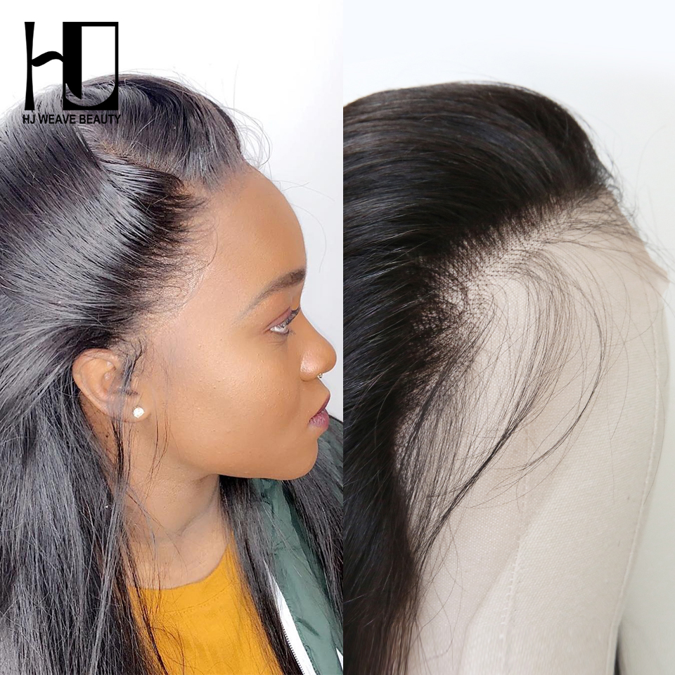 HJ WEAVE BEAUTY HD Lace Frontal Brazilian Straight Virgin Hair 13x4 Pre Pluck Hairline With Baby Hair Transparent Lace Frontal