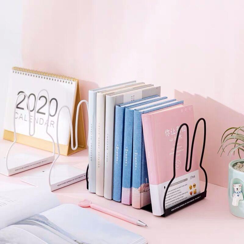 Sharkbang 2PCS/Pair Kawaii Rabbit Cat Metal Book Holder Desktop Bookends Desk Organizer Stand Shelf Office School Stationery 3