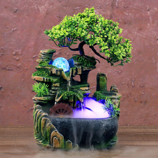LED Waterfall Statue Indoor Simulation Resin Rockery Desktop Fountain Geomantic Meditation Micro Landscape Home Garden Decor 2