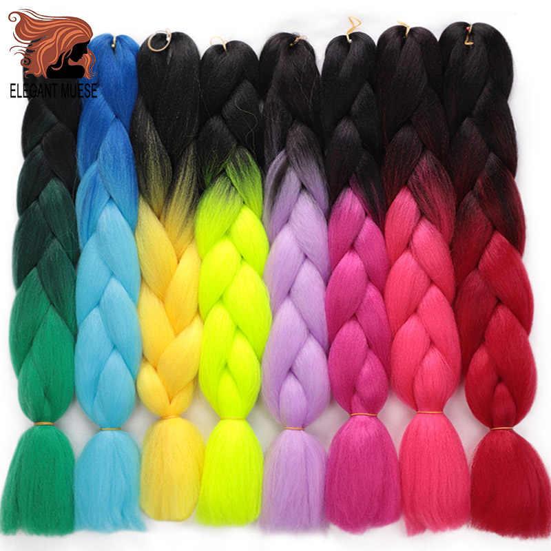 """Elegante Muses 1 Packs 24 """"100G Jumbo Vlechten Hair Extensions Synthetisch Haar Voor Gehaakte Zwarte Zachte Xpression Haar extension"""
