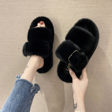 New Thick Bottom Fur Slippers Women's Wedges 2021 Winter Fashion Korean Home Wear Net Red Wool Cotton Slippers