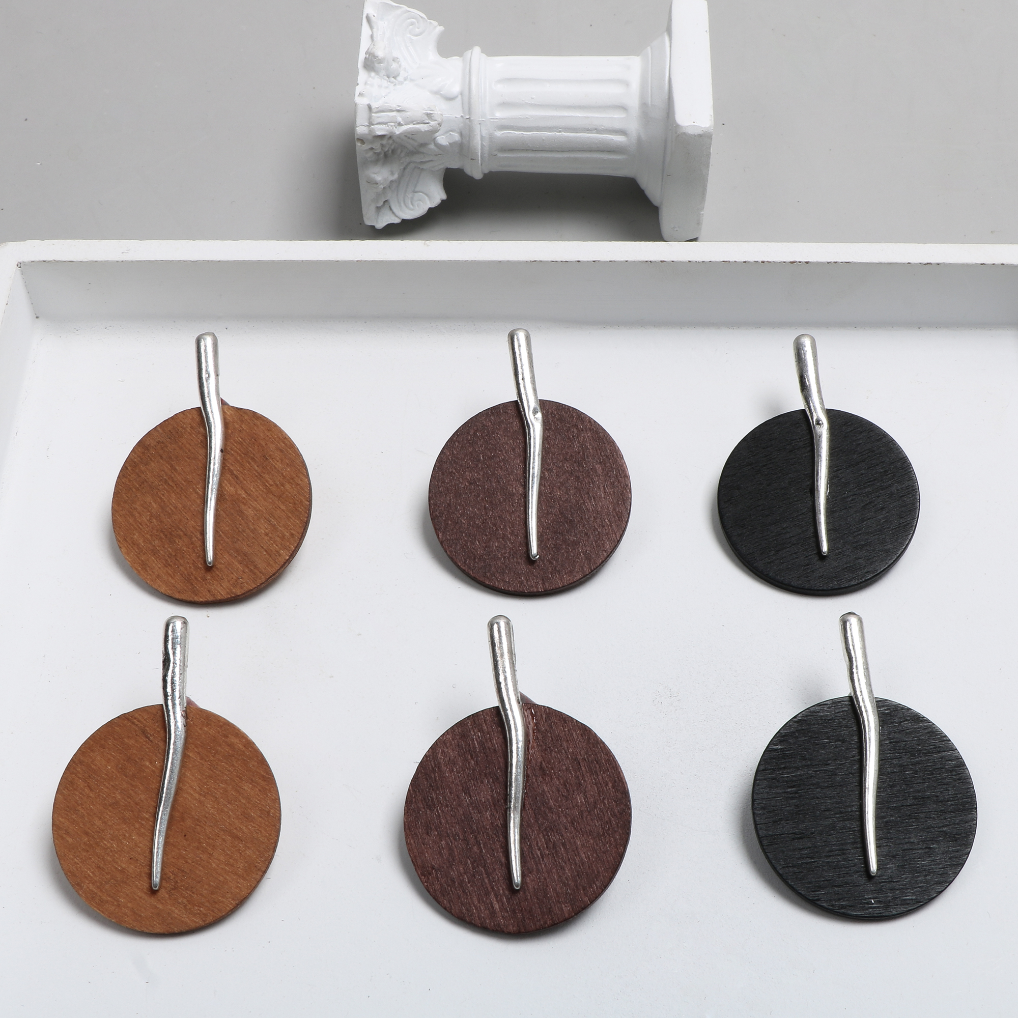 Ins Autumn And Winter Ancient Silver Log Round Wooden Earrings DIY Handmade Ornaments Earrings Accessories Materials