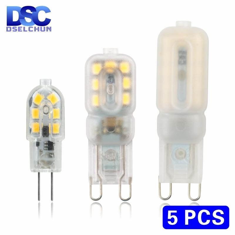5 ชิ้น/ล็อตหลอดไฟ LED 3W 5W G4 G9 หลอดไฟ AC 220V DC 12V หลอดไฟ LED SMD2835 Spotlight โคมไฟระย้าเปลี่ยนหลอดฮาโลเจน